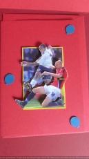 Grusskarte mit 3-D-Motiv Fussball