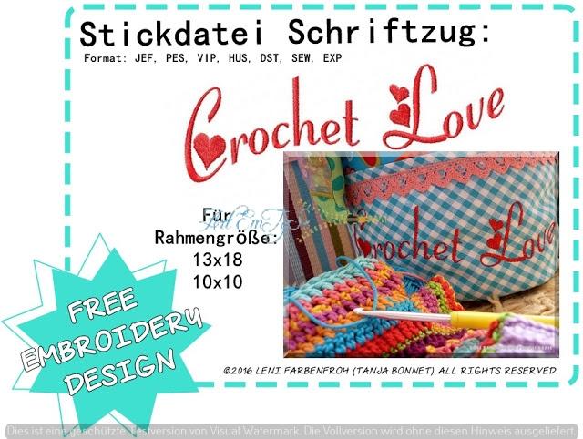 Crochet Love Schriftzug klein