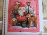 Weihnachtsgrusskarte mit einem 3-DMotiv Nikolaus mit Reh