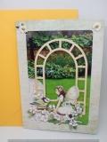 Grusskarte Garten mit Elfe