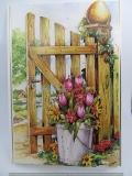 Ostergrußkarte mit 3-D-Motiv Blumen