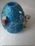 3-D-Osterglitzerei blau mit Elfe und Igelchen