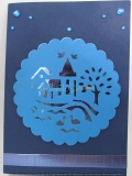 Grusskarte Dorf blau