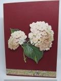 Filigrane Grusskarte mit Blumen-3-D-Motiv  dunkelrot