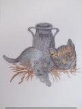 Passepartout-Stickbild Katzen