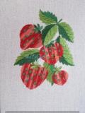 Passepartout-Stickbild-Erdbeeren