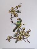 Passepartout-Stickbild-Zweig mit Vögelchen