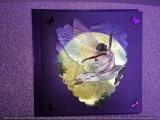 Grusskarte aubergine mit Elfenmotiv aubergine/braun/dunkelgrau