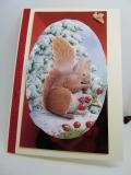 Winter-Grußkarte mit Eichhörnchen