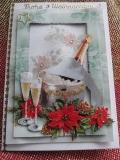Weihnachtskarte mit Sektflaschen-3-D-Motiv